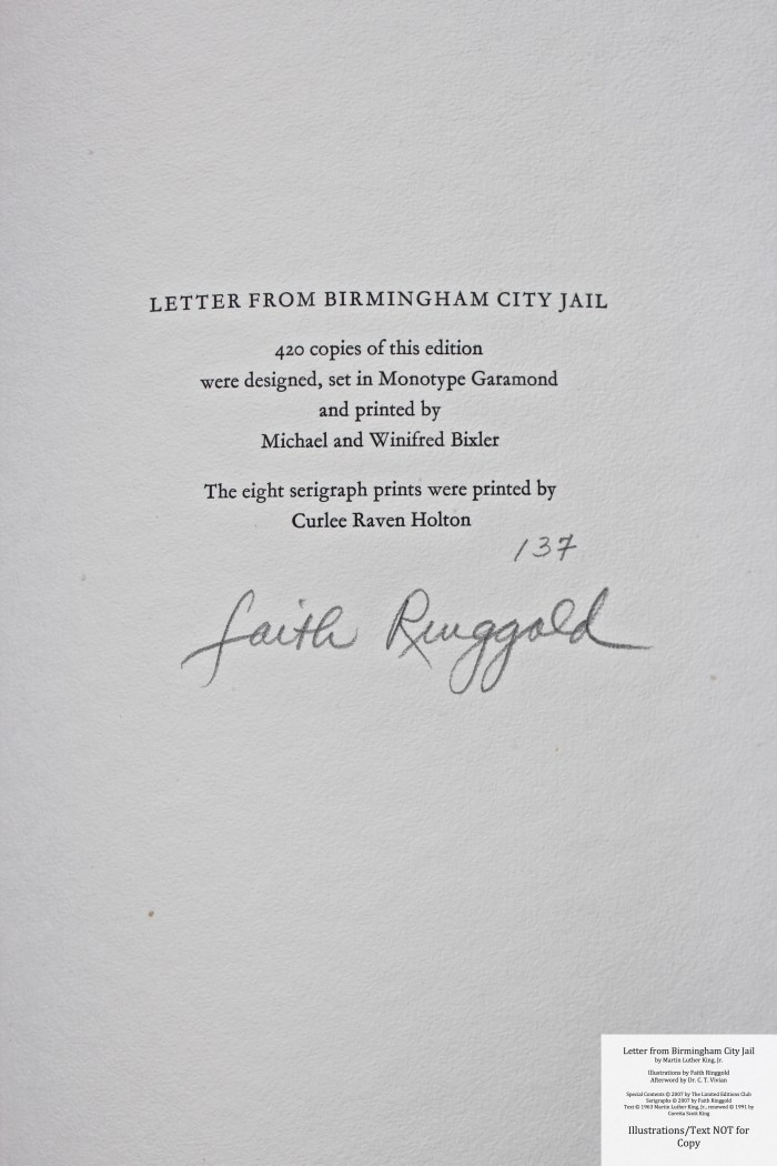Letter from Birmingham Jail, Limited Editions Club, Colophon