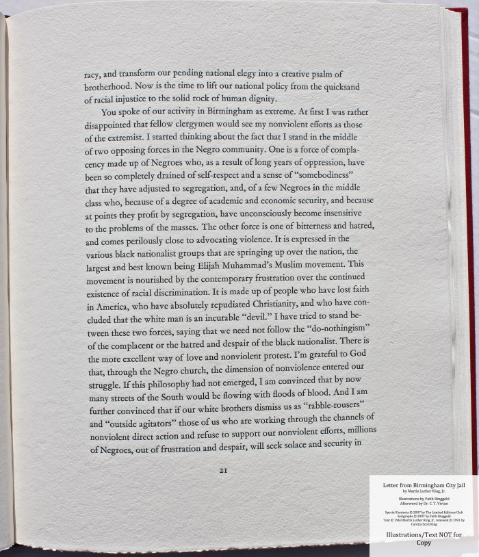 Letter from Birmingham Jail, Limited Editions Club, Sample Text #3
