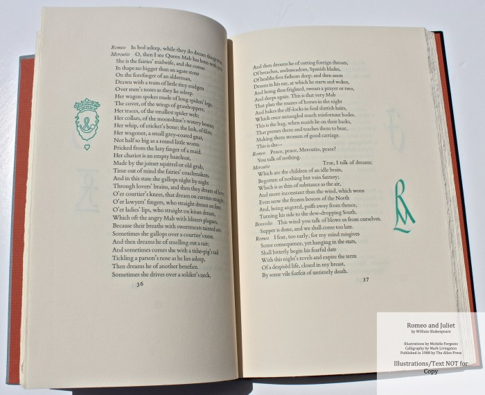 Romeo and Juliet, Allen Press, Sample Text #1 with Calligraphy
