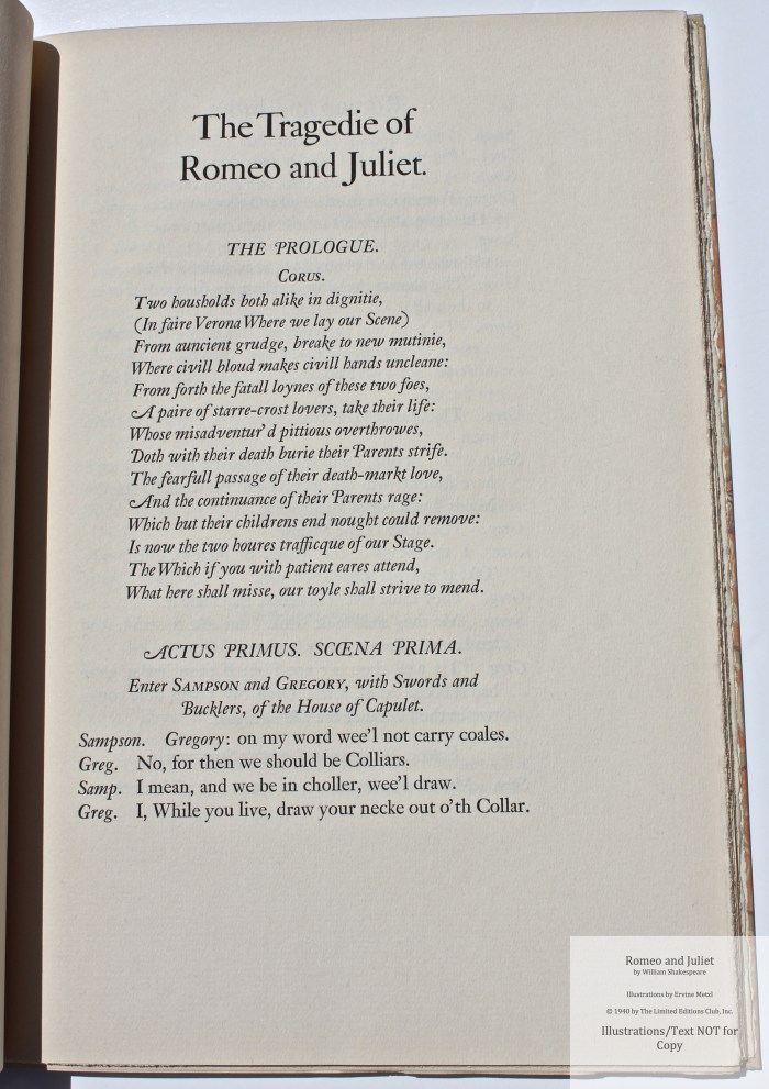 Romeo and Juliet, Allen Press, Sample Text #1