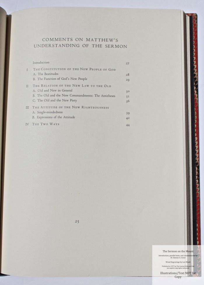 The Sermon on the Mount, Limited Editions Club, Sample Text #4