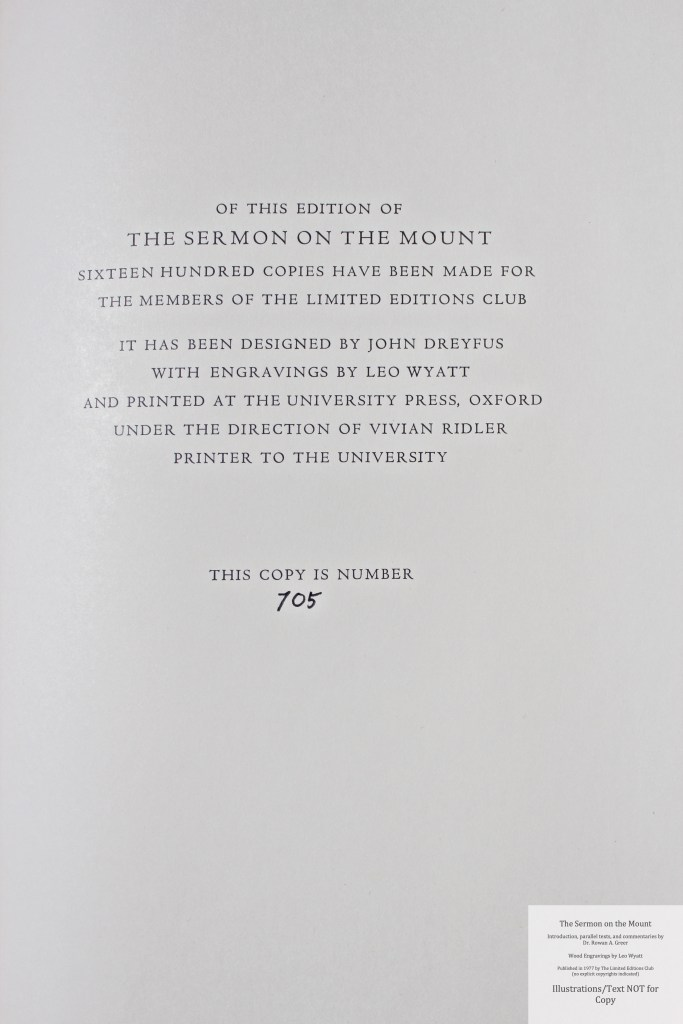 The Sermon on the Mount, Limited Editions Club, Colophon