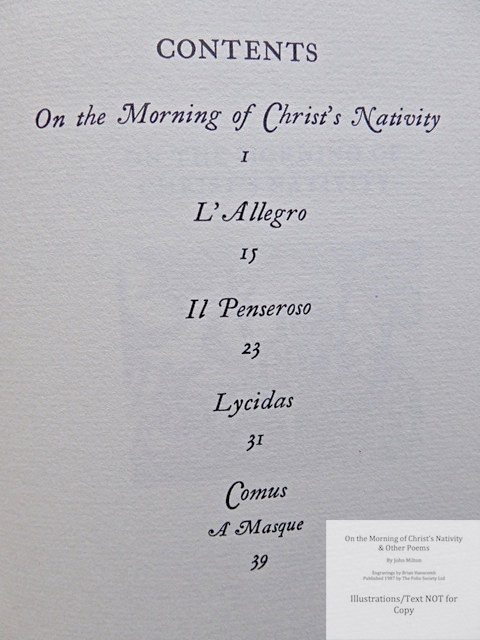 On the Morning of Christ's Nativity & other poems, The Folio Society, Contents