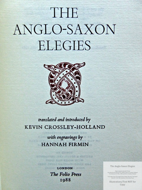 The Anglo-Saxon Elegies, The Folio Society, Title Page