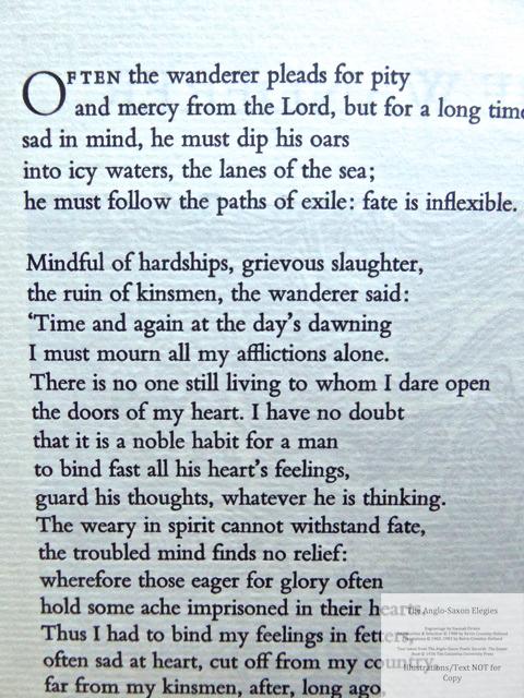 The Anglo-Saxon Elegies, The Folio Society, Sample Text #2