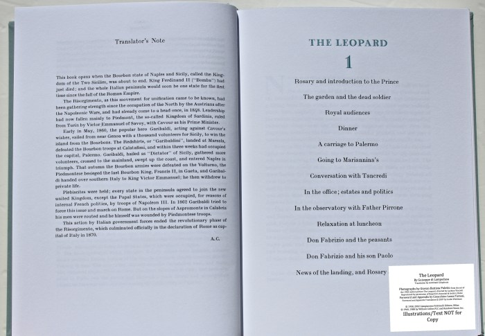 The Leopard, Arion Press, List of Photographs