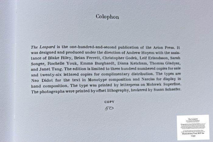 The Leopard, Arion Press, Colophon