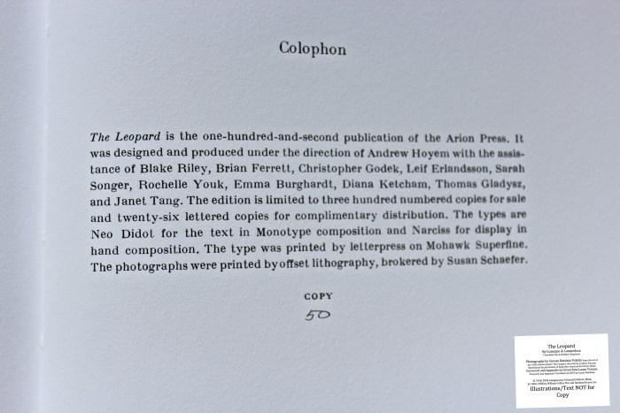 The Leopard, Arion Press, Colophon