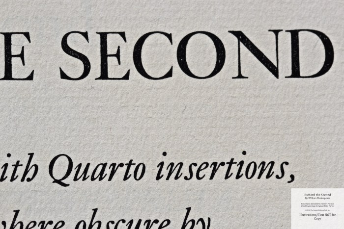 Richard the Second, Limited Editions Club, Title Page Macro