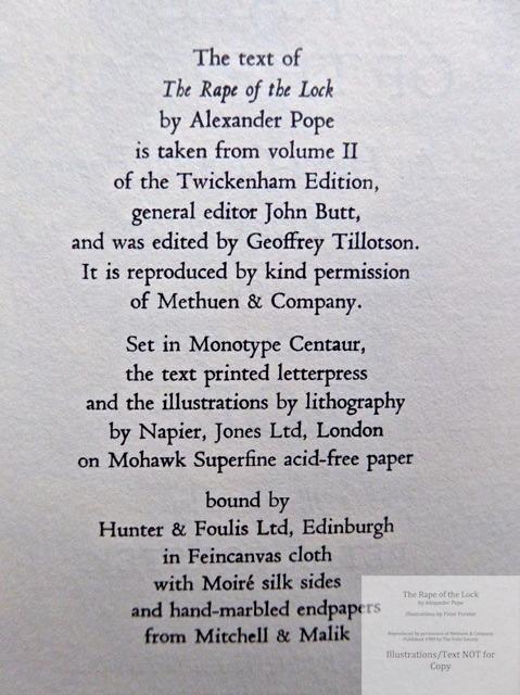 The Rape of the Lock, The Folio Society, Colophon