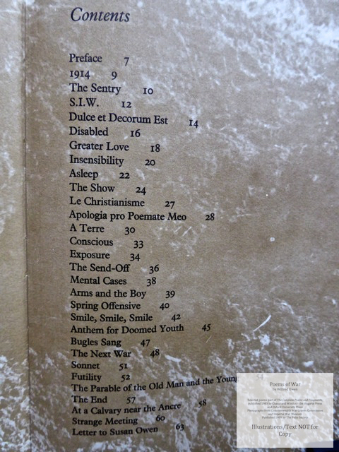 Poems of War, The Folio Society, Contents