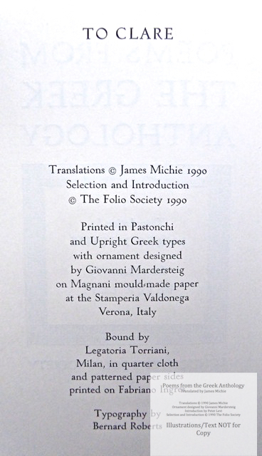 The Greek Anthology, The Folio Society, Colophon and Copyright