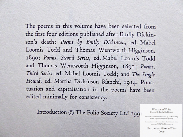 Woman In White, Poems by Emily Dickinson, The Folio Society, Copyright