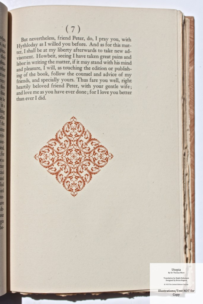 Utopia, Limited Editions Club, Sample Text #4 with Decoration