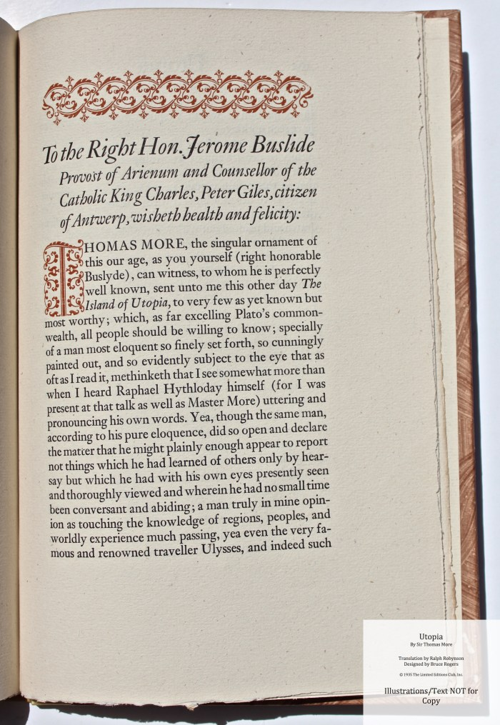Utopia, Limited Editions Club, Sample Text #8 with Decoration