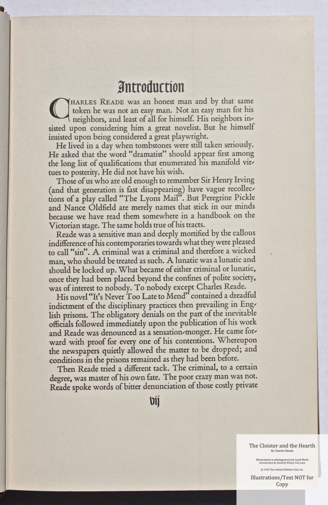 The Cloister and the Hearth, Limited Editions Club, Sample Text #1 (Introduction)