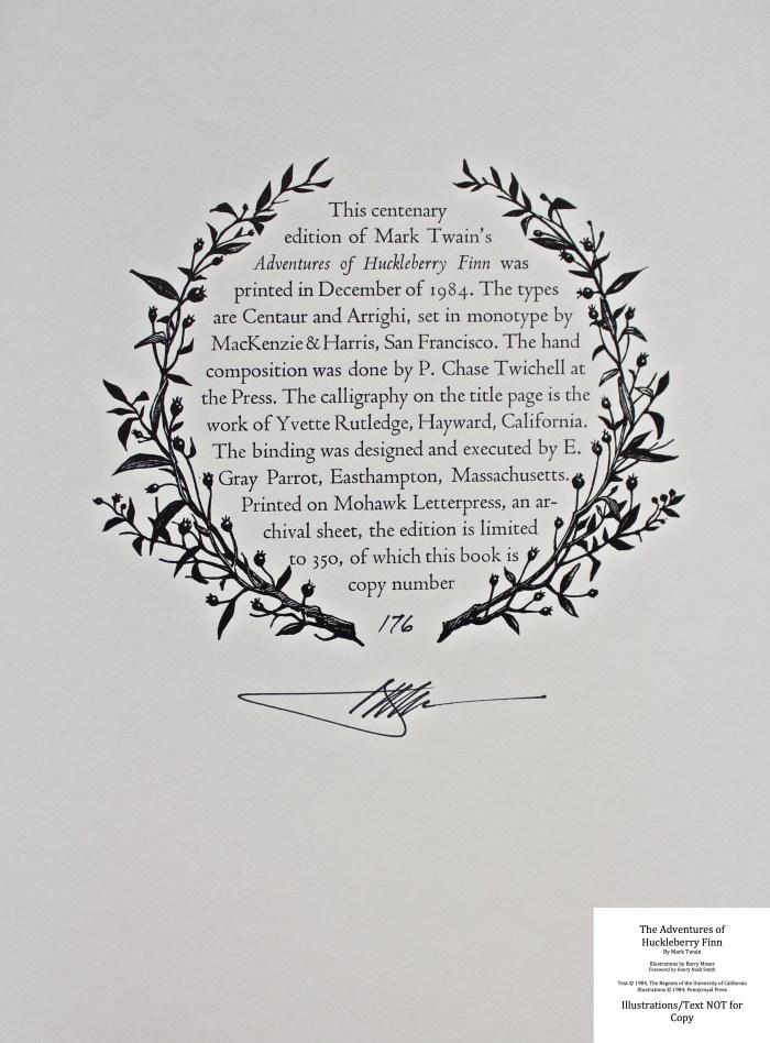 The Adventures of Huckleberry Finn, Pennyroyal Press, Colophon