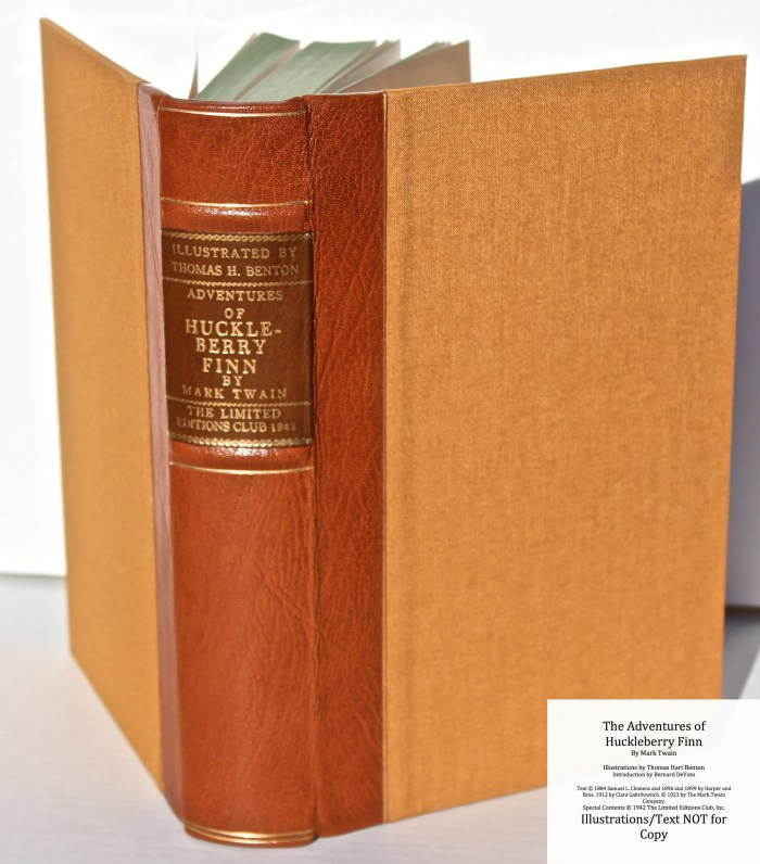 The Adventures of Huckleberry Finn, Limited Editions Club (1942), Spine and Covers (rebound)