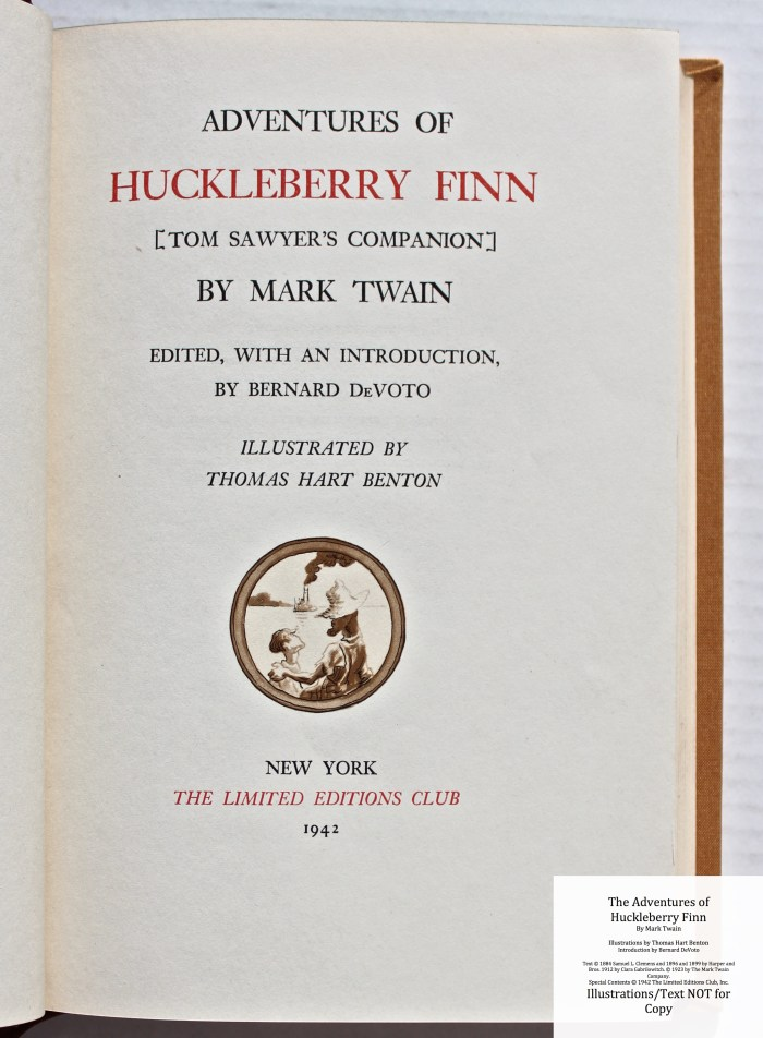 The Adventures of Huckleberry Finn, Limited Editions Club (1942), Title Page