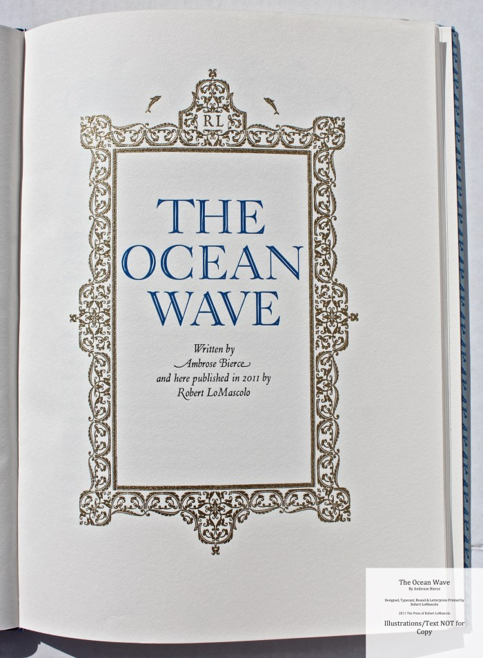 The Ocean Wave, The Press of Robert LoMascolo, Title Page