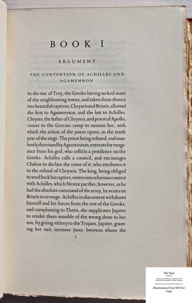 The Iliad, Limited Editions Club, Sample Text #2