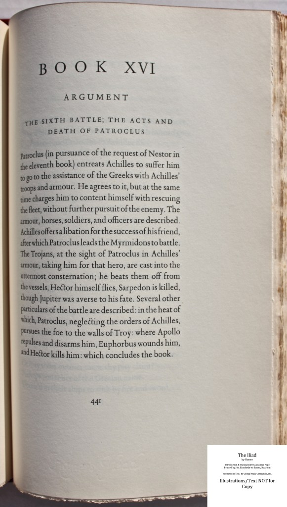 The Iliad, Limited Editions Club, Sample Text #4