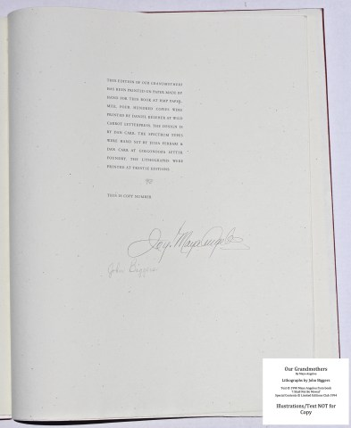 Our Grandmothers, Limited Editions Club, Colophon