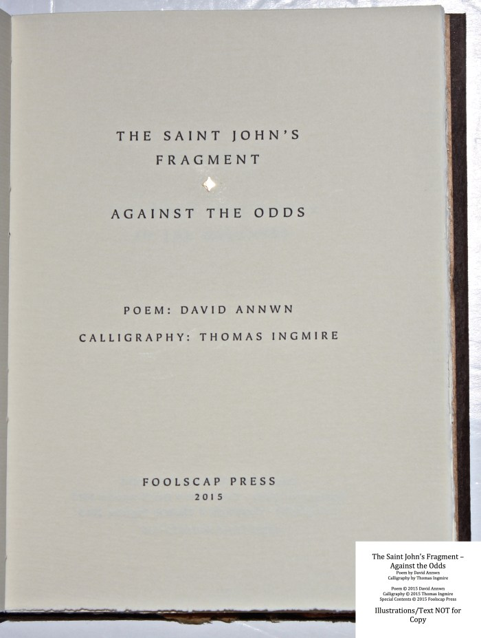 The Saint John's Fragment - Against the Odds, Foolscap Press, Title Page