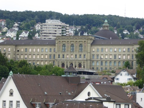 Photo 73: Close-up of ETH Zurich University with the dome of University of Zurich directly behind.
