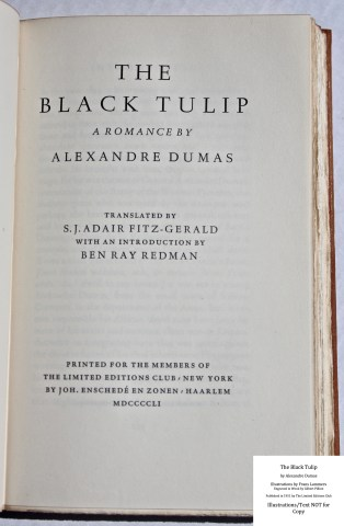 The Black Tulip, Limited Editions Club, Title Page
