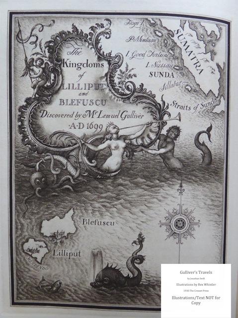 Gulliver's Travels, Cresset Press, Map of Lilliput - verso page