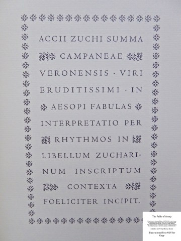 The Fables of Aesop, Officina Bodoni, Introductory Page
