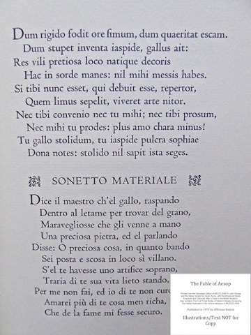 The Fables of Aesop, Officina Bodoni, Sample Text #1 - Fable Two: Latin text with Italian translation (Sonetto Materiale)
