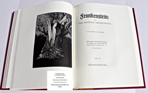 Frankenstein, Pennyroyal Press, Frontispiece and Title Page for Vol III