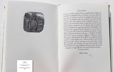 Fancy: 8 Odes of John Keats, Barbarian Press, Sample Illustration #9 and Colophon