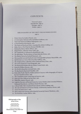 Bibliography of the Arion Press, Arion Press, Sample Text #1 (Contents)