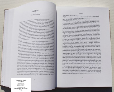 Bibliography of the Arion Press, Arion Press, Sample Text #5 (Preface)