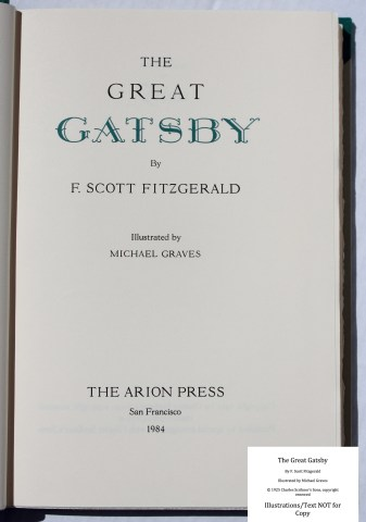 The Great Gatsby, Arion Press, Title Page