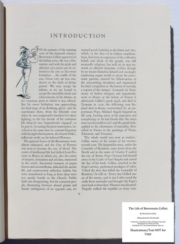 The Life of Benvenuto Cellini, Limited Editions Club, Sample Illustration #1 with Text