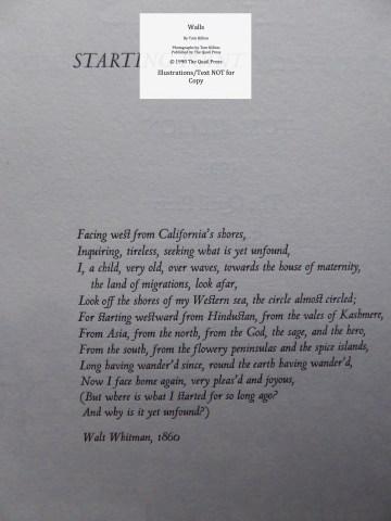 Walls, Quail Press, Sample Text #1