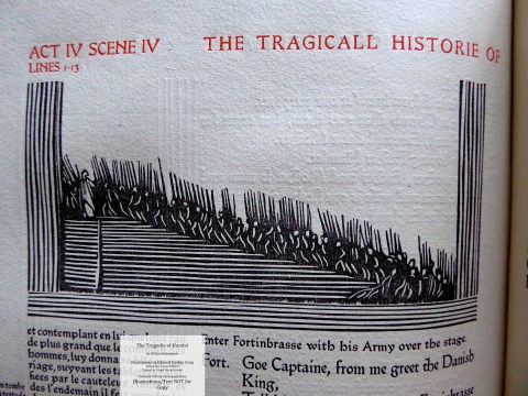 Hamlet, Cranach Press, Wood engraving of Fortinbrasse entering over the stage with his army.