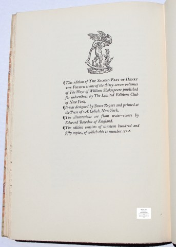 King Henry IV -Part II, Limited Editions Club, Colophon