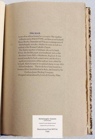 Michelangelo: Sonnets, Allen Press, Colophon
