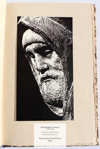 Michelangelo: Sonnets, Allen Press, Photograph of Self-Sculpture by Michelangelo