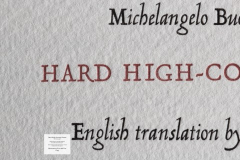 Hard High-Country Poems Peter Koch Printers, Macro of Title Page