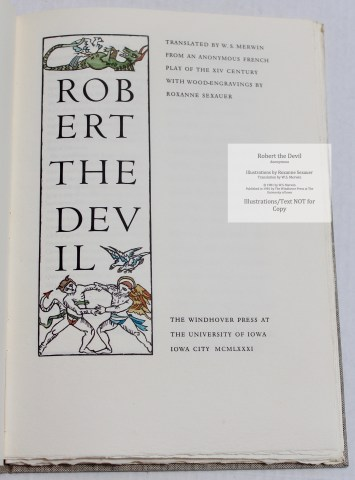 Robert the Devil, The Windhover Press, Title Page
