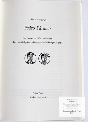 Pedro Paramo, Arion Press, Title Page