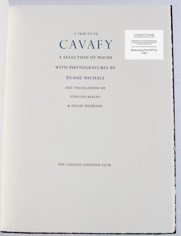 A Tribute to Cavafy, Limited Editions Club, Title Page