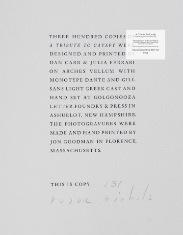 A Tribute to Cavafy, Limited Editions Club, Colophon