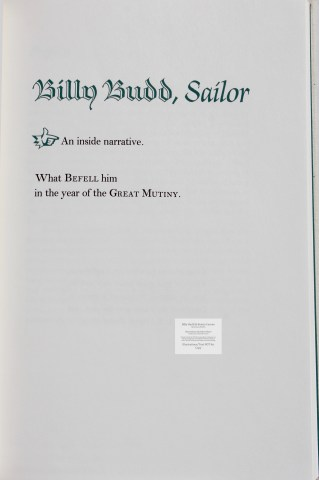 Billy Budd and Beneto Cereno, Limited Editions Club, Title Page for Billy Budd